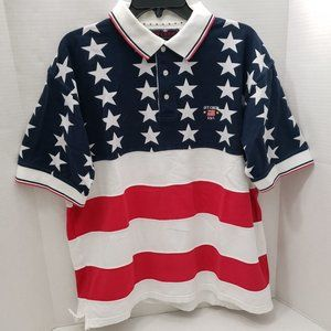 90s Ivy Crew American Flag Polo Shirt All Over XL